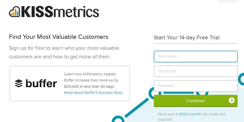 Homepage of KISSmetrics for a sales funnel