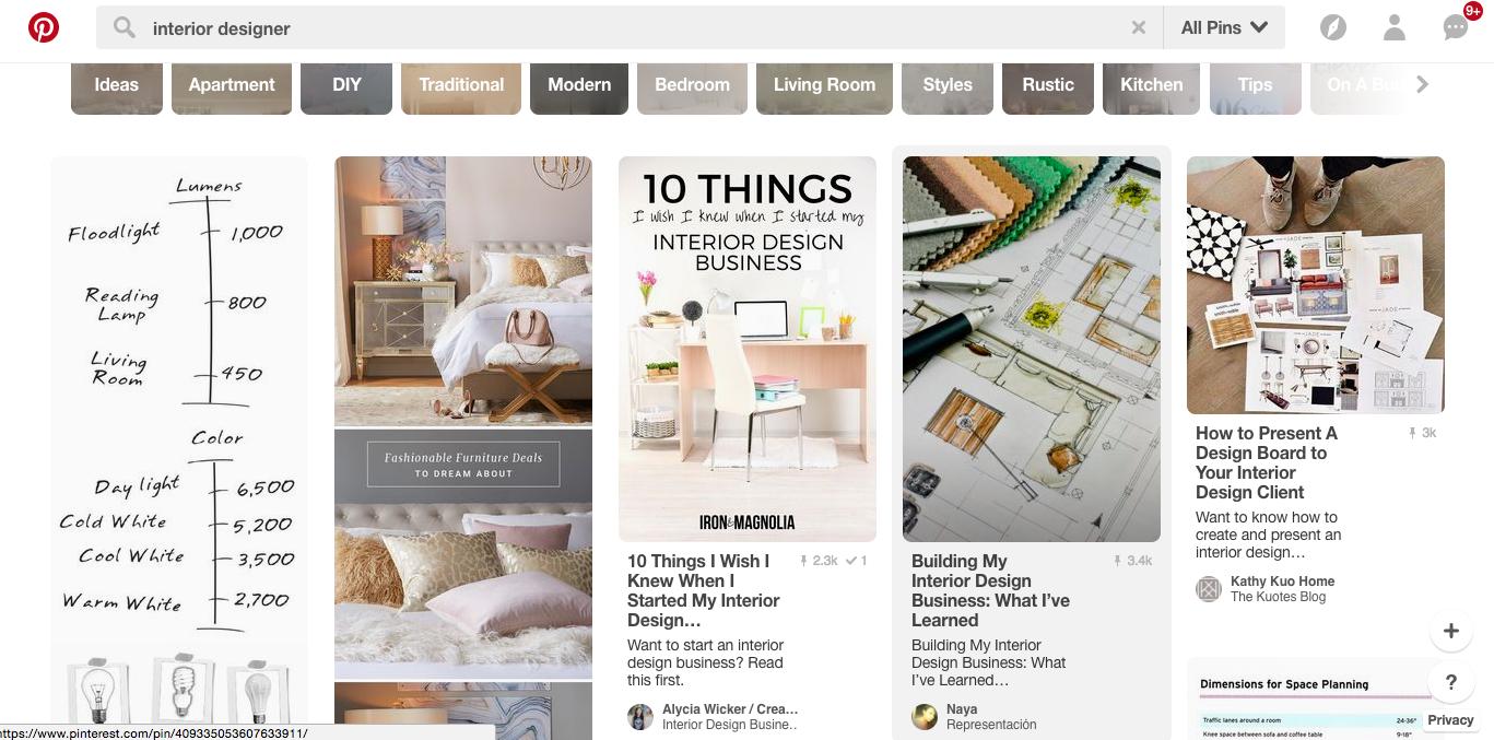 Pinterest Ergebnisseite zu Interior Designer