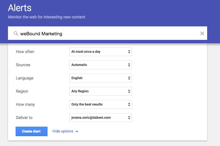Überblick des Google Alert Setups für Dein Business