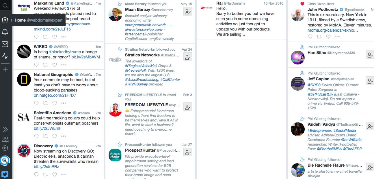 Homepage von TweetDeck für ein Business