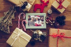Weihnacht Geschenke mit Weihnachtsfoto