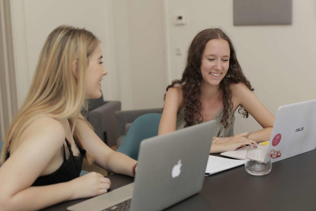 Anja and Nina having fun during Internship meetings