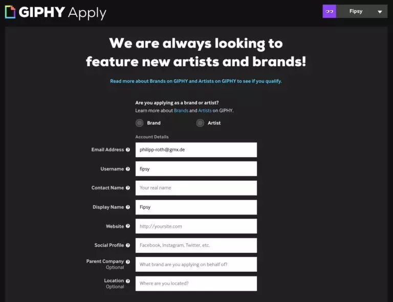 GIPHY Application Form for Instagram GIF Stickers Upload