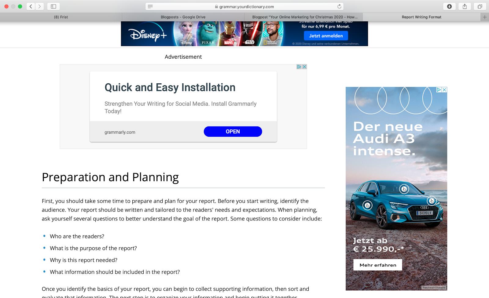 Webseite voller Display Ads