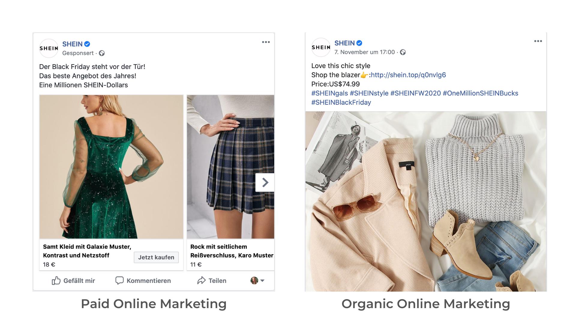 Ein Beispiel für bezahltes und organisches Marketing