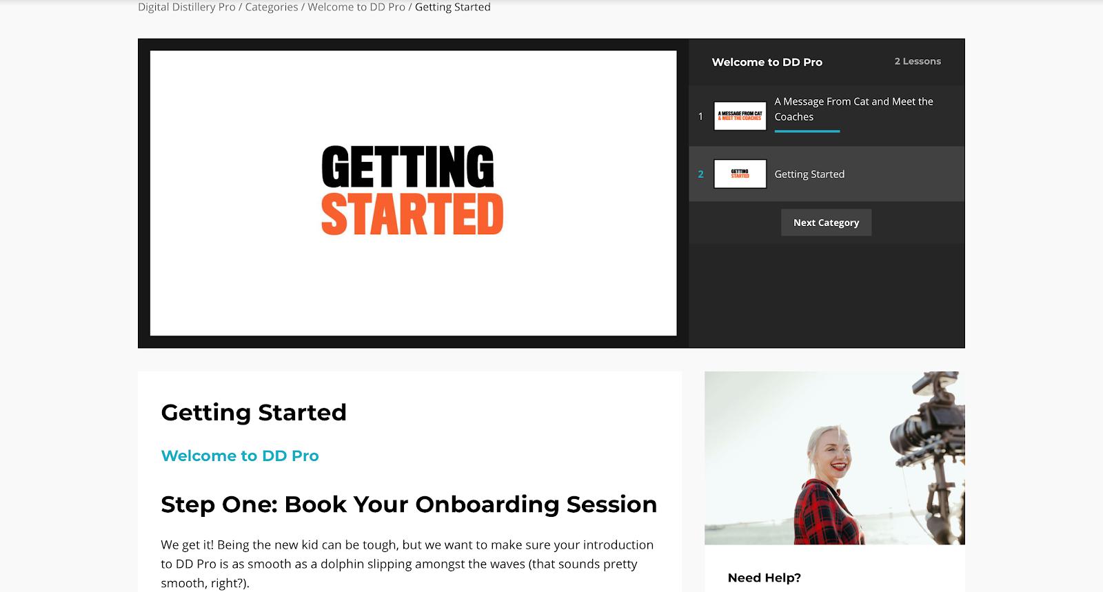 Benutzeransicht eines Online Kurses