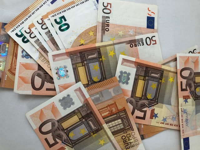 Euro bills signalizing the cost of further training